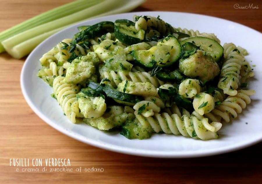 Fusilli con verdesca e crema di zucchine al sedano