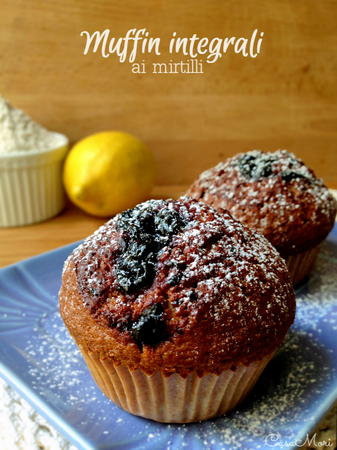 Muffin integrali con confettura di mirtilli