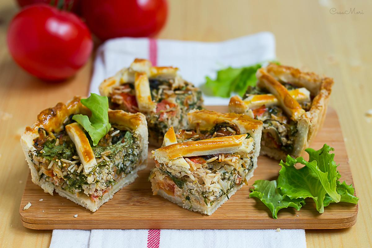 Torta salata di insalata e riso basmati