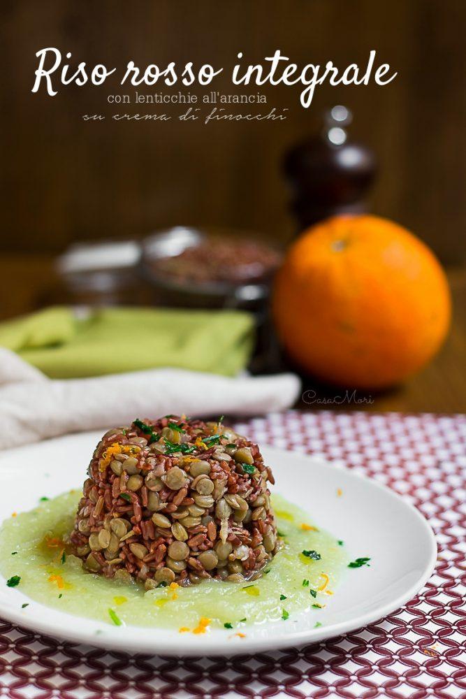 Riso rosso integrale con lenticchie all'arancia su crema di finocchi