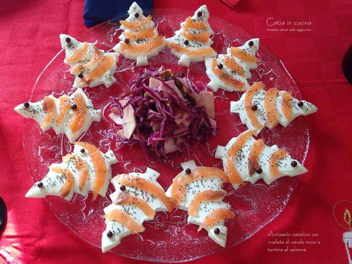 antipasto natalizio insalata e tartine