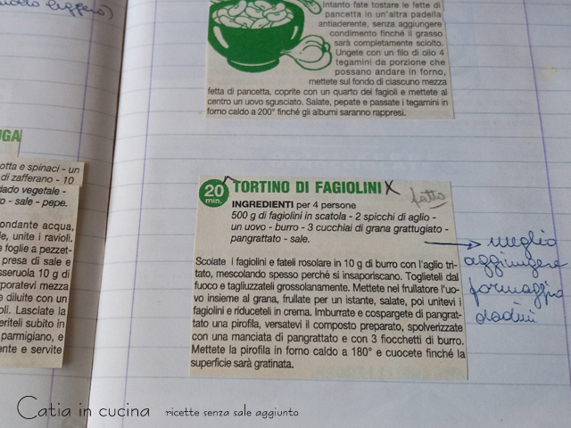 quaderni ricette tortino fagiolini
