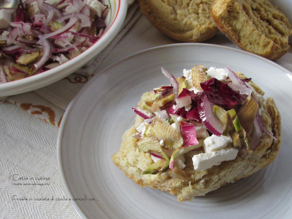 friselle in insalata di cipolla e carciofi