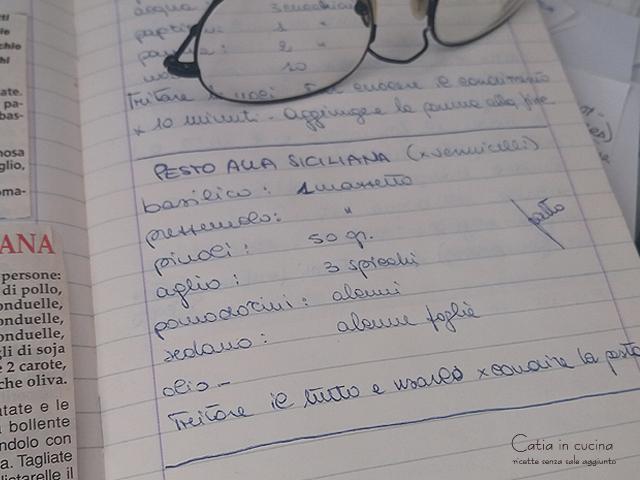 pesto alla siciliana ricetta quaderno Catia