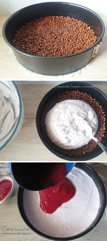 cheesecake fragole e cioccolato - steps