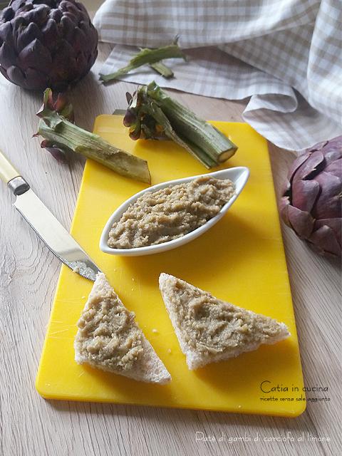patè di gambi di carciofo al limone