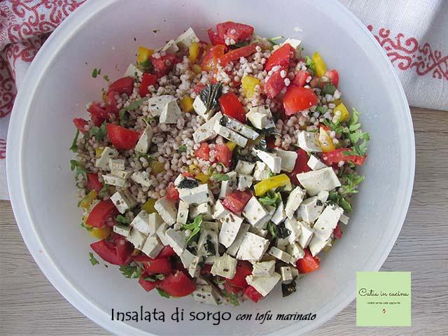 insalata di sorgo vegan con tofu