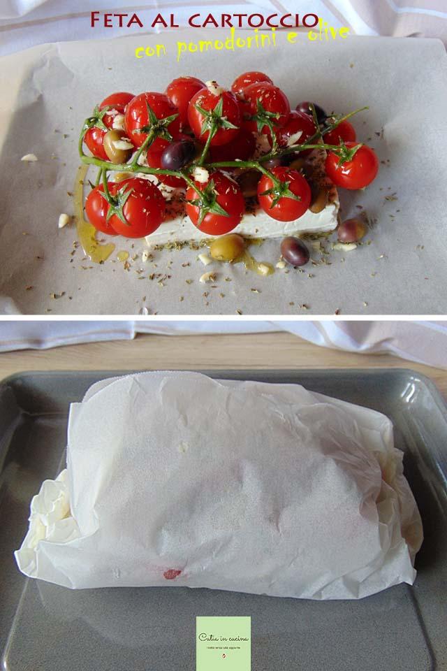 feta al cartoccio con pomodorini e olive steps