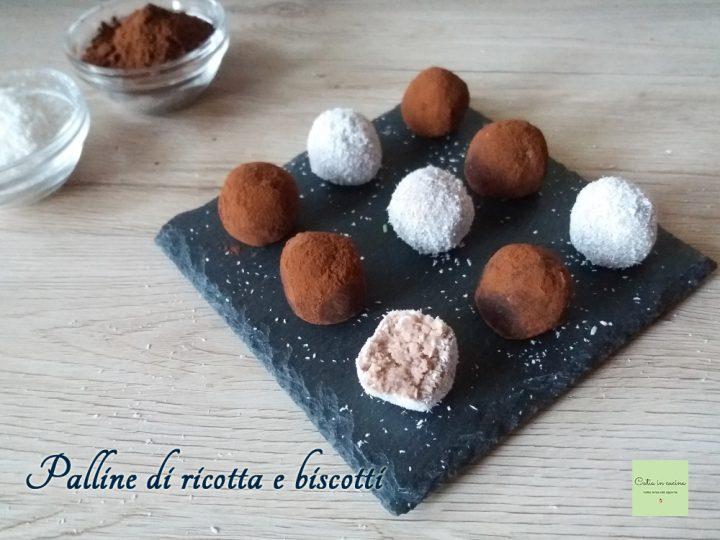 palline di ricotta e biscotti cocco e cacao