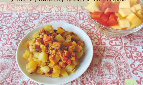 Zucca, patate e peperoni cotti in forno