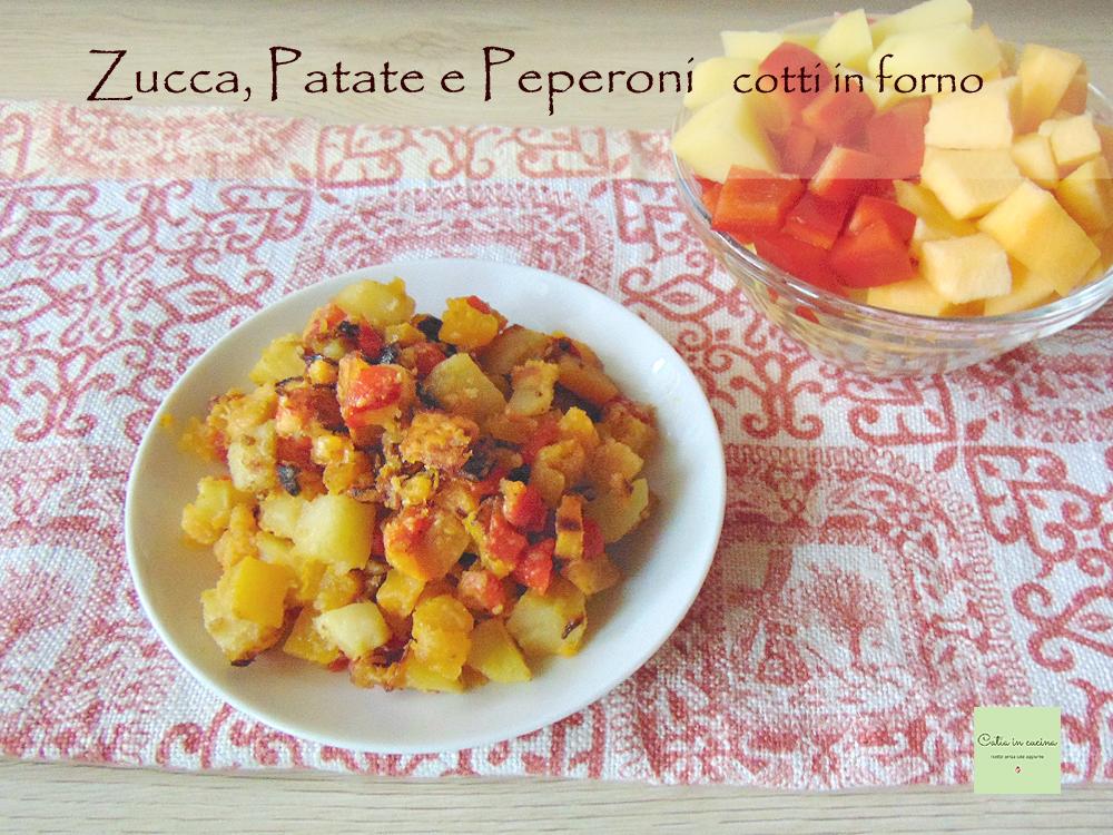 zucca patate e peperoni cotti in forno