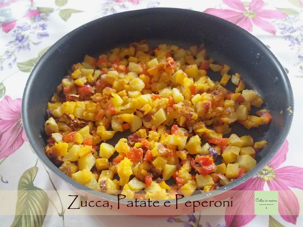 zucca patate e peperoni teglia
