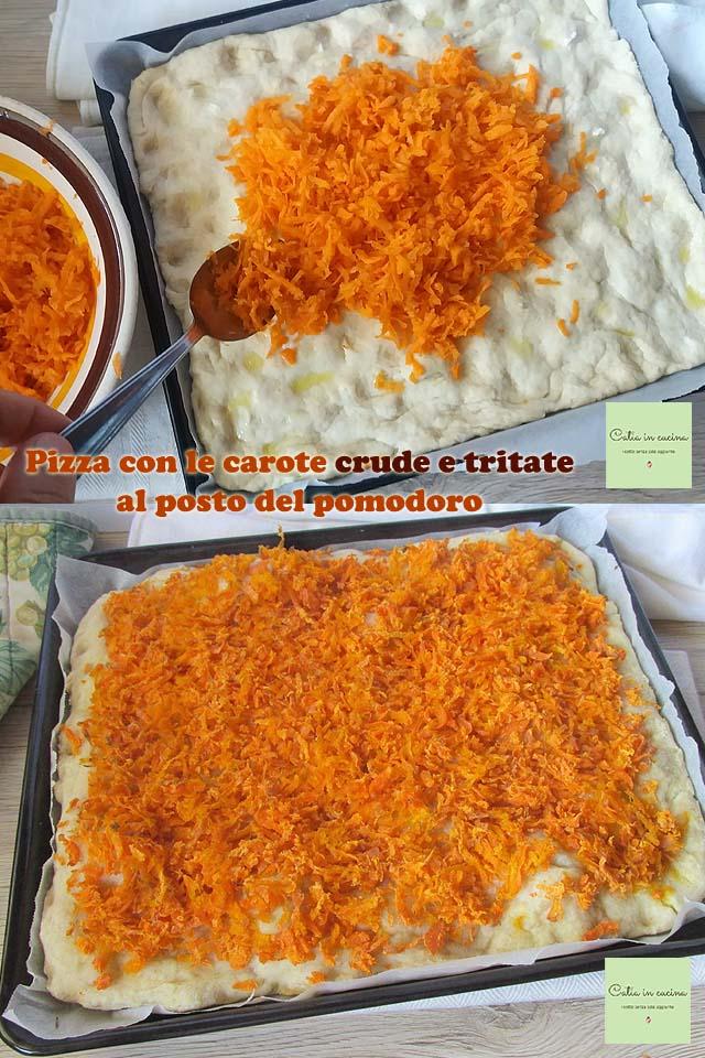 pizza con le carote al posto del pomodoro - steps