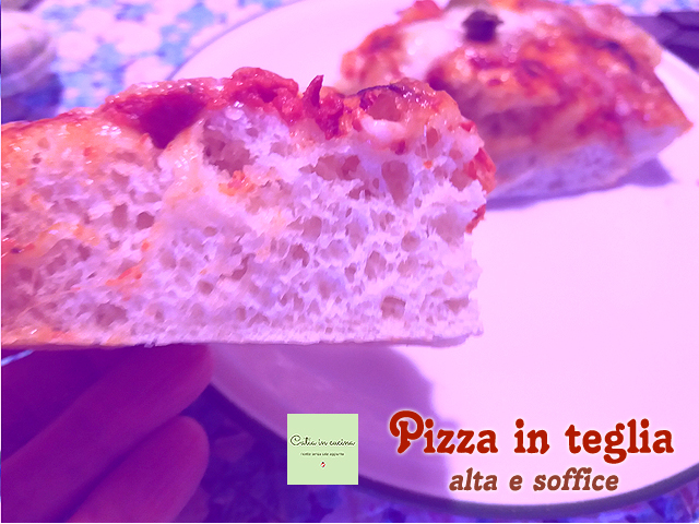 pizza alta e soffice, taglio