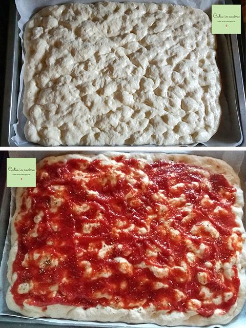 pizza in teglia con impasto semplice steps