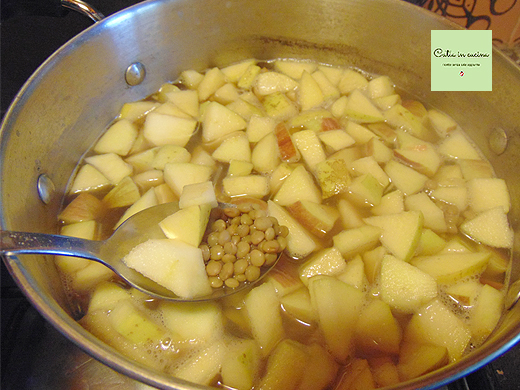 zuppa di mele metà cottura