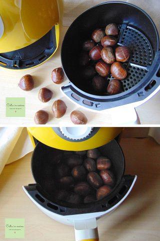castagne nella friggitrice ad aria prima della cottura