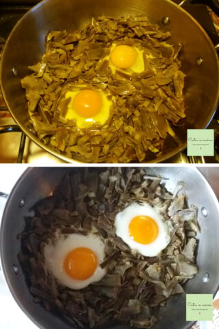 carciofi e uova steps