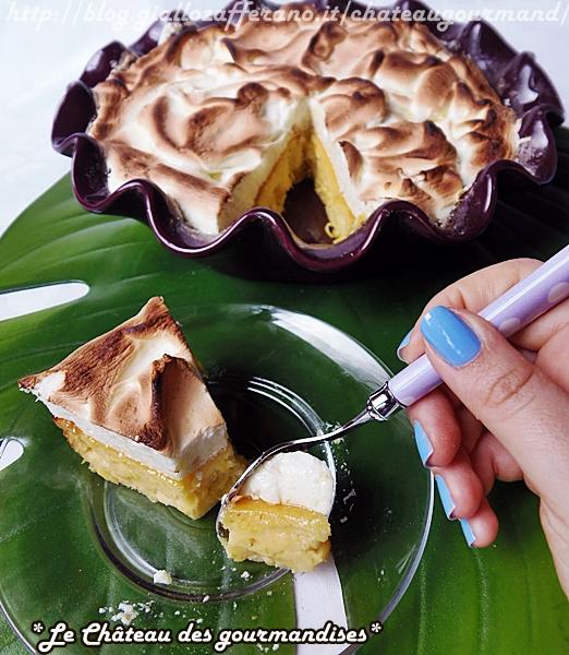 Torta di ricotta e ananas meringata al limone