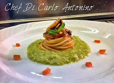 Ricetta regalata dall'Amico Antonino Di Carlo: Spaghetti ai sapori del Mediterraneo su purea di fave verdi e menta