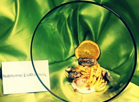 Tagliolini con ostriche su burrata all'olio evo all'arancia e crumble di pane