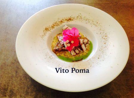 Maltagliata di polpo  su vellutata di patate e porri con polvere di capperi di Vito Poma