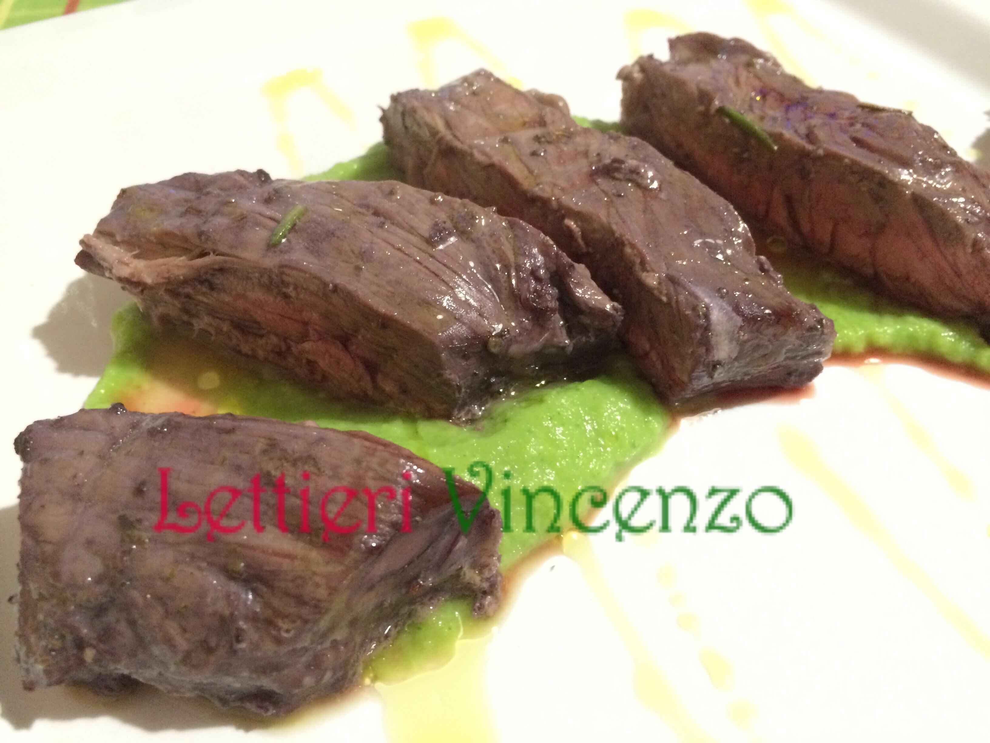 Entrecote al forno con vellutata di broccoletti for Cucinare entrecote