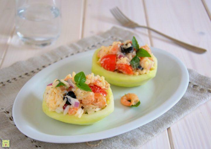 barchette di caroselli ripiene di insalata di riso