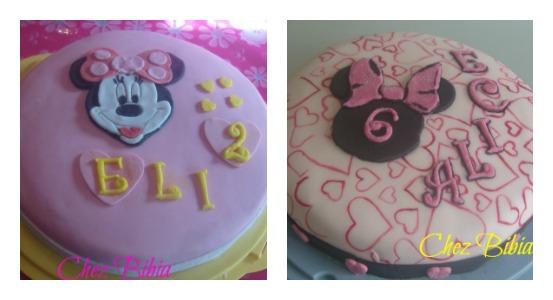 Torta Minnie fantasia in pdz 1 e 2 per Elisabetta e Alice
