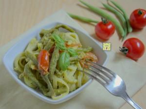 pasta pesto di fagiolini fagiolini e pomodori