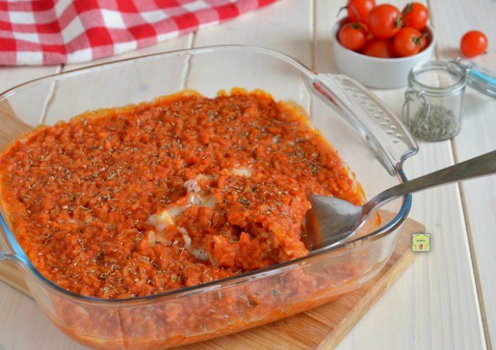 riso al forno pomodoro e mozzarella