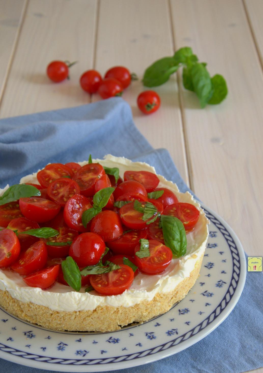 Cheesecake salata ai pomodori senza cottura e senza gelatina