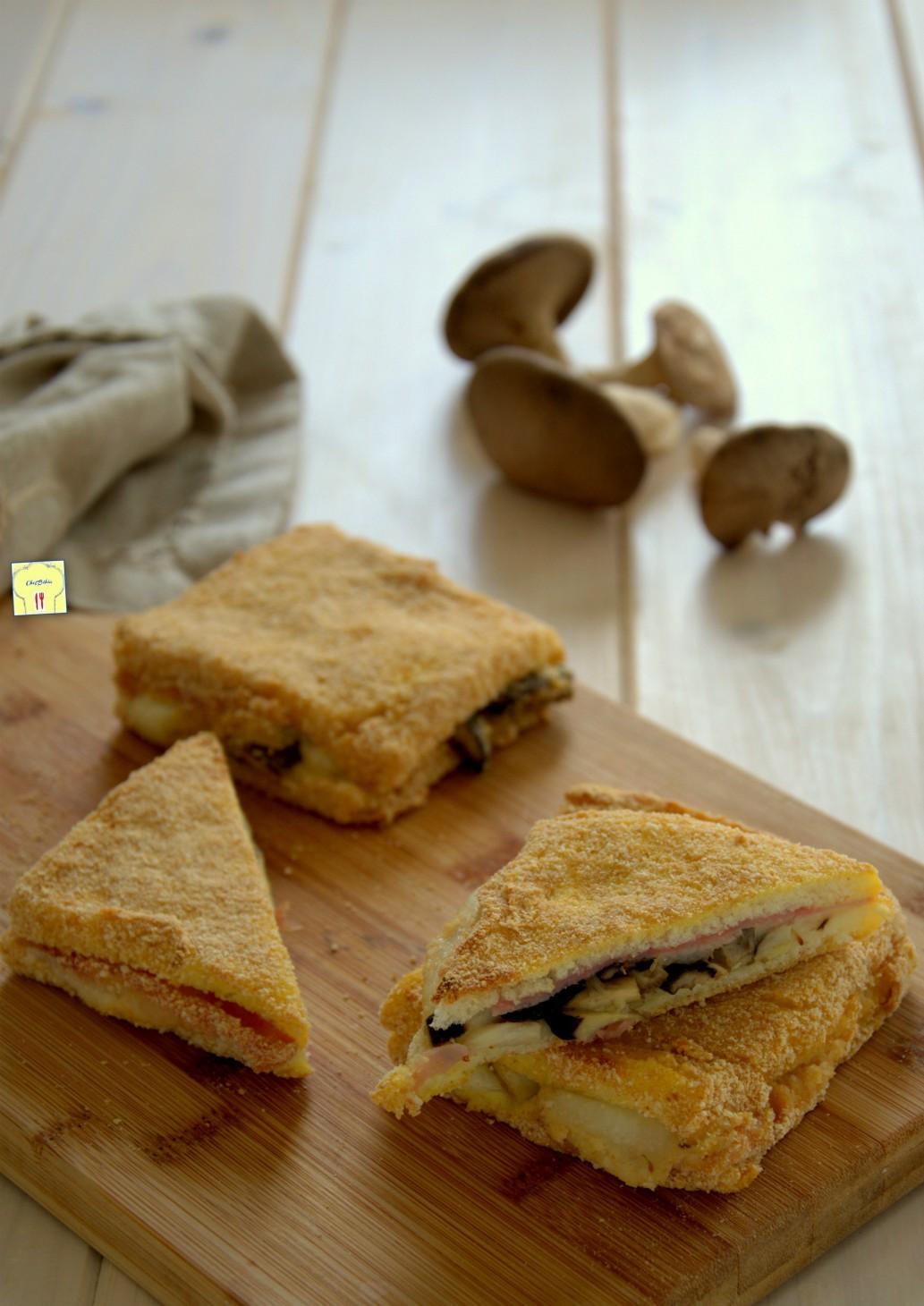 Mozzarella in carrozza al forno funghi e prosciutto for Ricette mozzarella in carrozza al forno