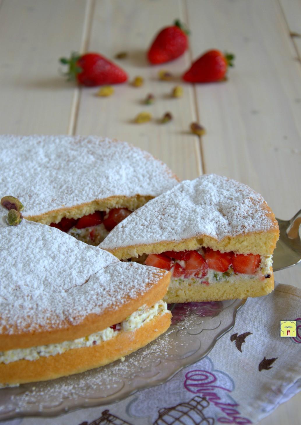 torta con crema di ricotta pistacchi e fragole gp
