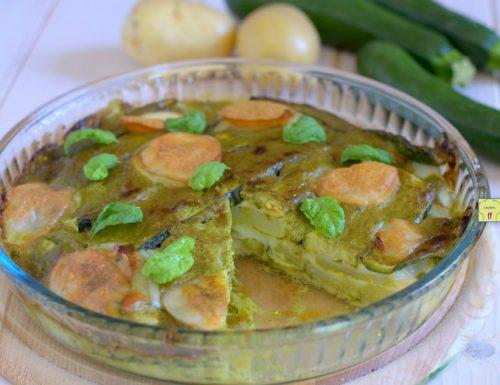 Torta zucchine e patate al pesto