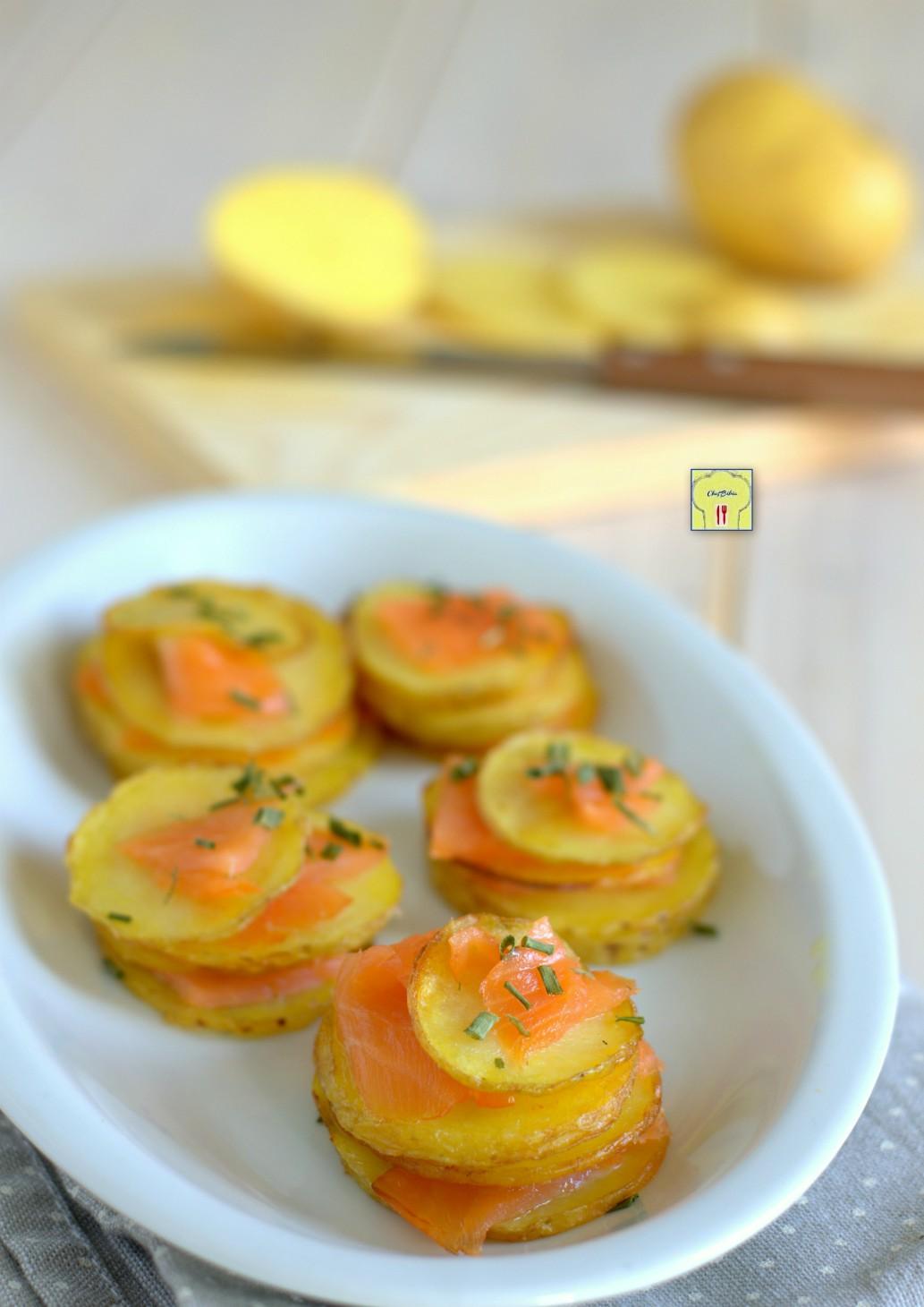 millefoglie di patate e salmone gp