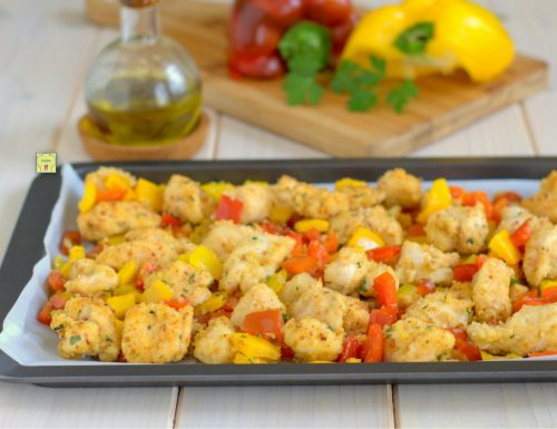 Bocconcini di pollo e peperoni gratinati