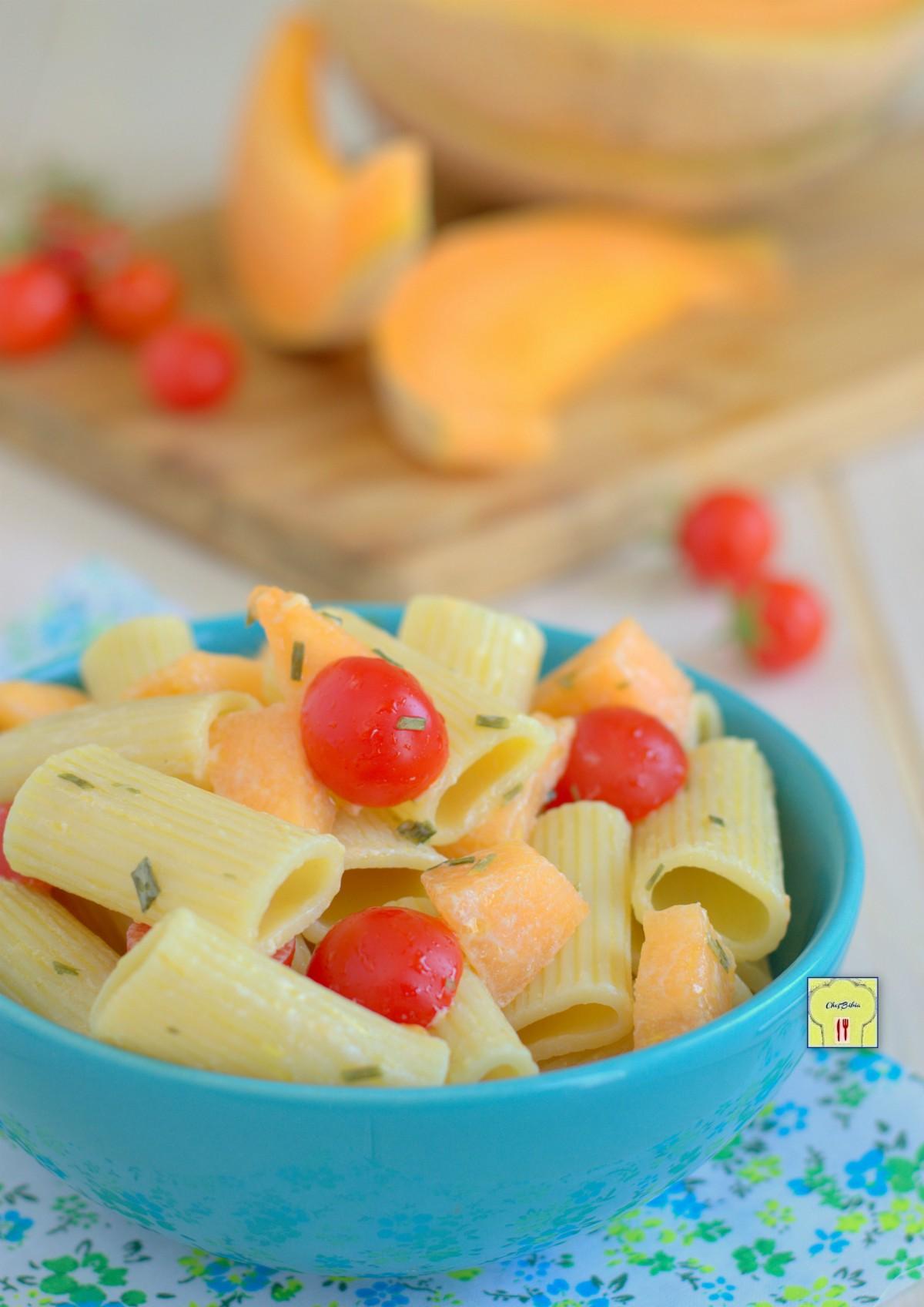 insalata di pasta melone e pomodorini gp