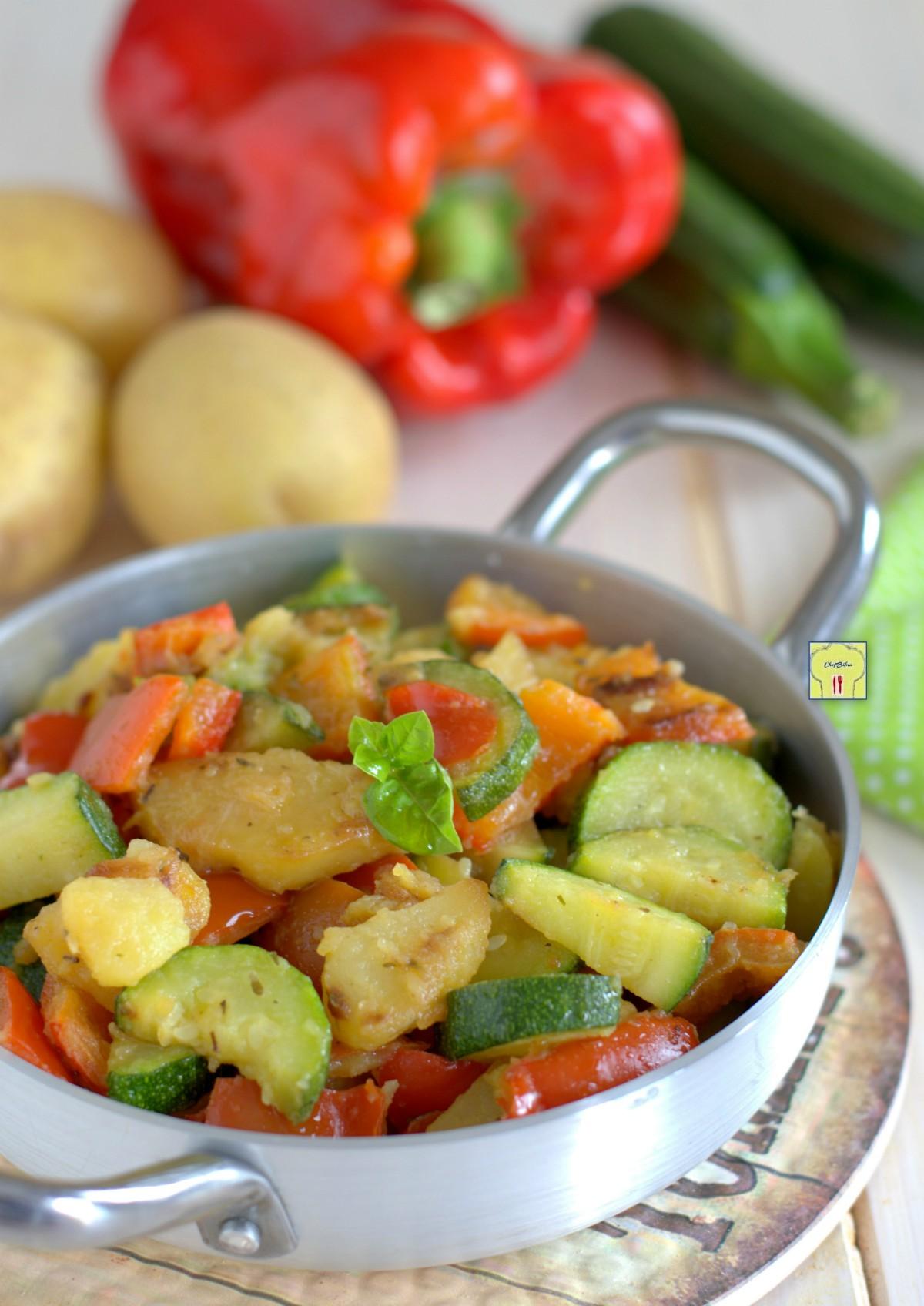 zucchine patate e peperoni in padella gp