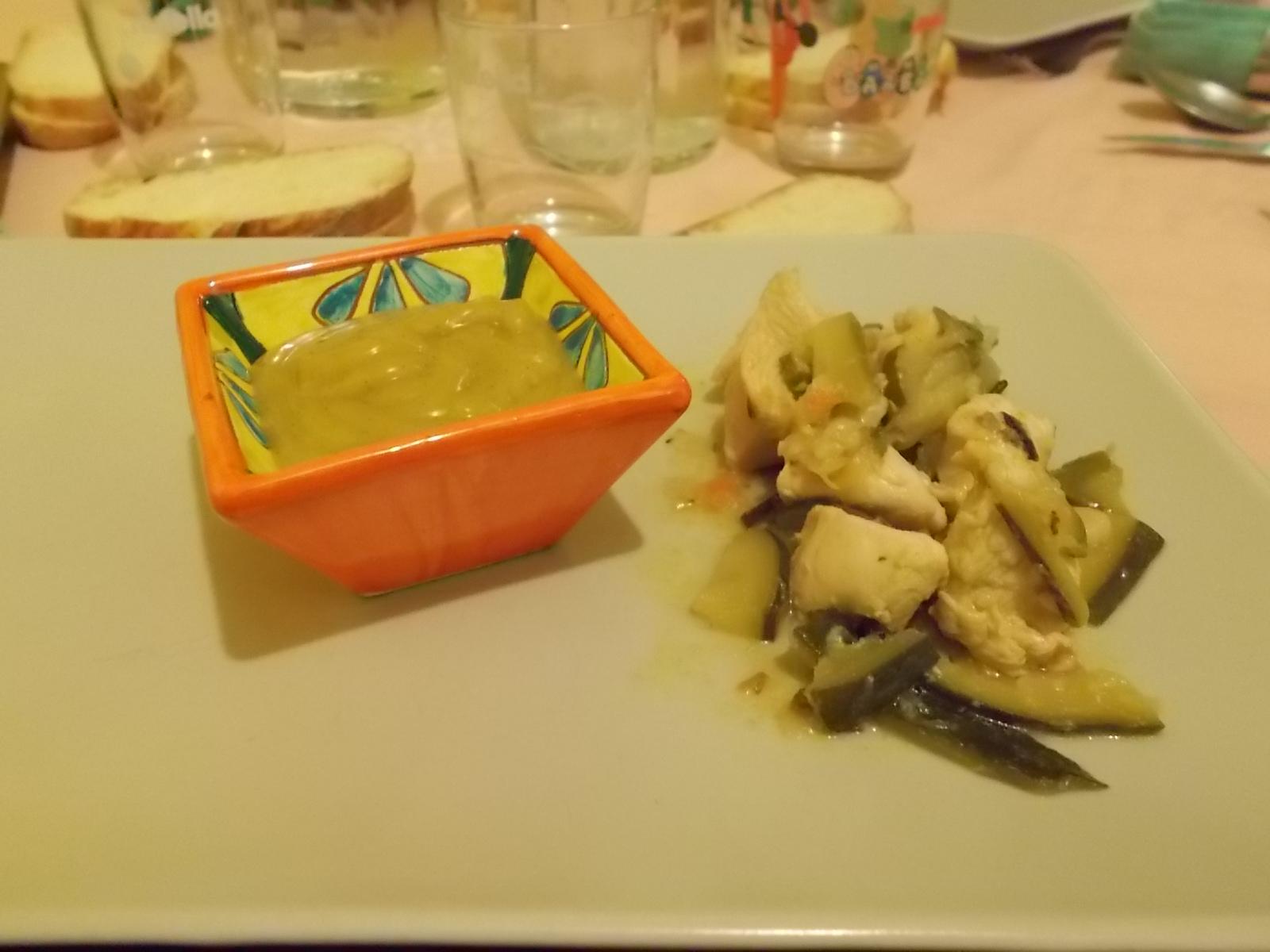 Bocconcini di pollo allo zenzero con salsa al curry