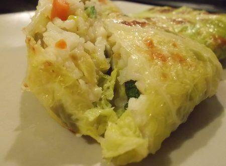 Bauletti di verza con riso e verdure