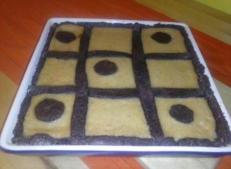Crostata al cacao con crema di mais all'amaretto