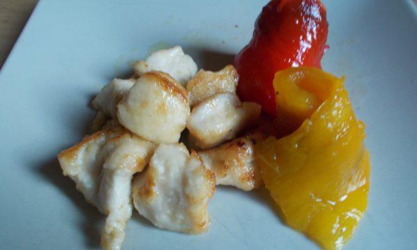 Bocconcini di pollo al limone con peperoni