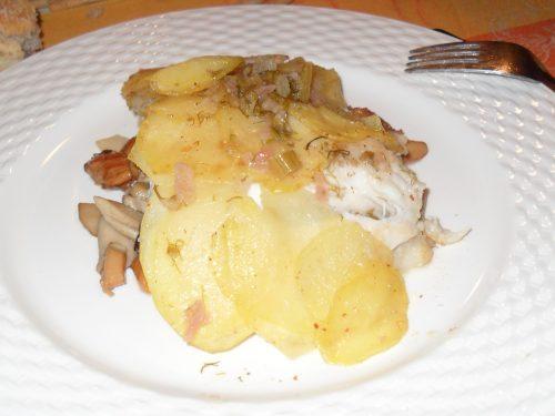 Orata con patate e funghi