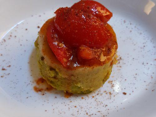 Flan di zucchine con pomodorini confit