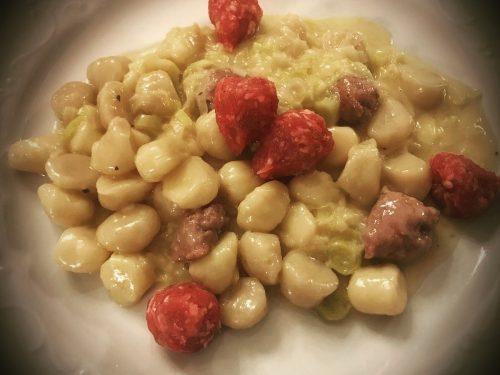 Gnocchetti porri, salsiccia e gorgonzola