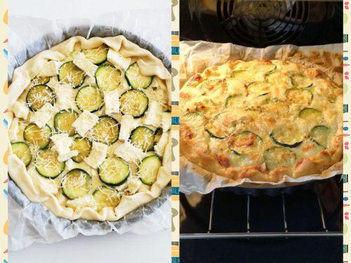 Torta salata di zucchine, brie e mozzarella