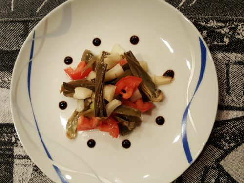 Insalata di carciofi con lime ed aceto balsamico