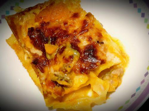 Lasagne di zucca, salsiccia e gorzonzola