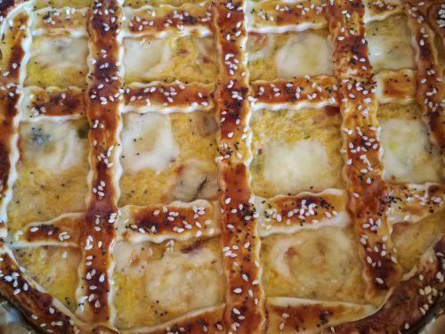 Crostata di zucca, porri e gorgonzola